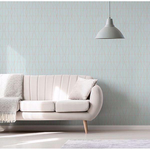 Picture of LeVeque Light Blue Deco Diamond Geo Wallpaper