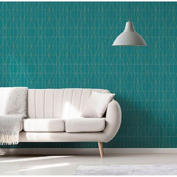 Picture of LeVeque Teal Deco Diamond Geo Wallpaper