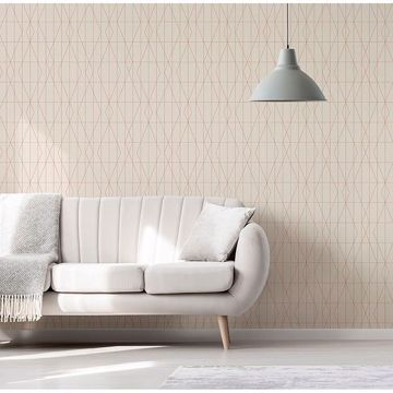 Picture of LeVeque Cream Deco Diamond Geo Wallpaper