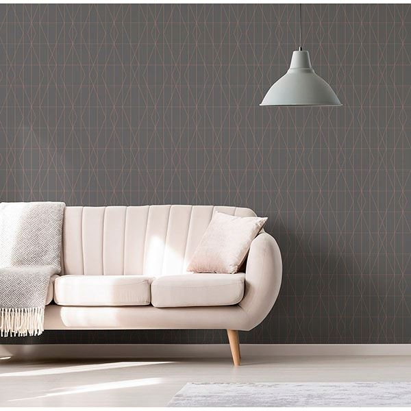 Picture of LeVeque Charcoal Deco Diamond Geo Wallpaper