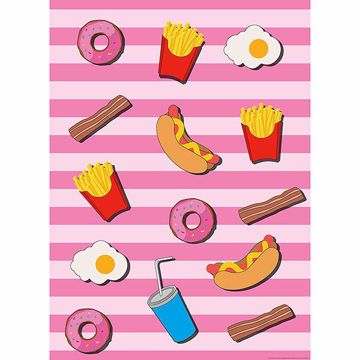 Picture of Fast Food Kitchen Pink Wall Mural
