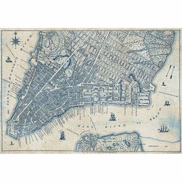 Picture of Old Vintage City Map New York Wall Mural