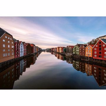 Picture of Colorful Houses At The River In Norway Wall Mural