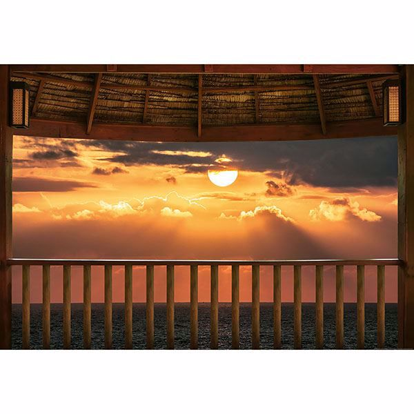 Picture of Ocean View Terrace At Sunset Wall Mural