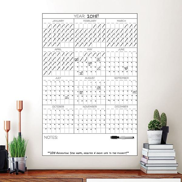 Picture of Yearly Dry Erase Calendar Decal