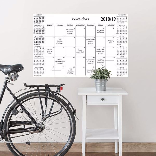 Picture of White Academic 2018-19 Dry Erase Calendar Decal