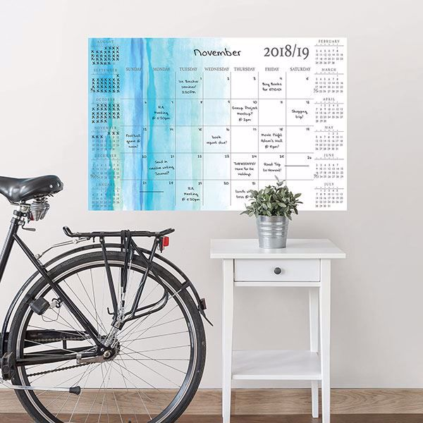 Picture of Blue Equinox Academic 2018-19 Dry Erase Calendar Decal