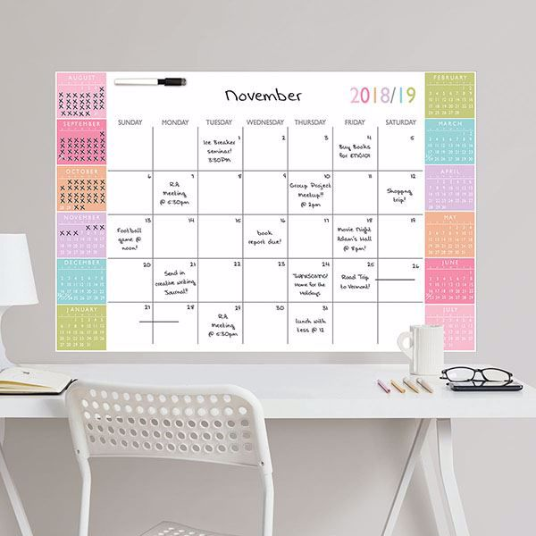 Picture of Color Block Academic 2018-19 Dry Erase Calendar Decal