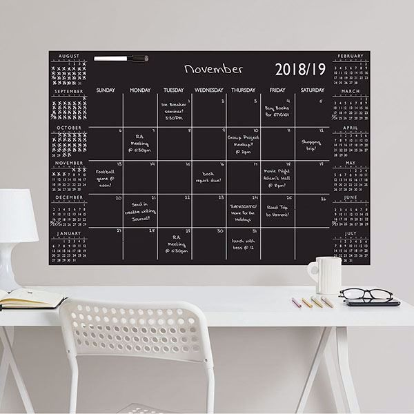 Picture of Black Academic 2018-19 Dry Erase Calendar Decal