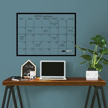 Picture of Black on Clear Monthly Dry Erase Calendar Decal