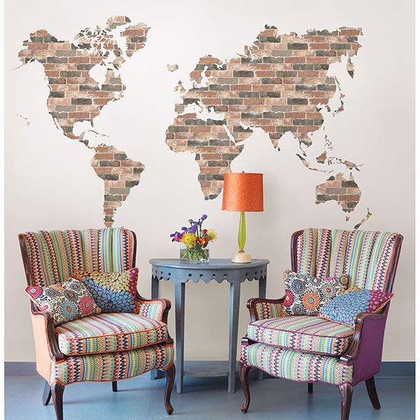 Picture of Brick Wall World Map Wall Art Kit