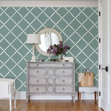 Picture of Aegean Ikat Trellis Wallpaper by Sarah Richardson