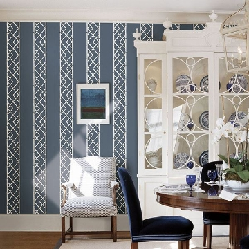 Picture of Latticework Indigo Wallpaper by Sarah Richardson