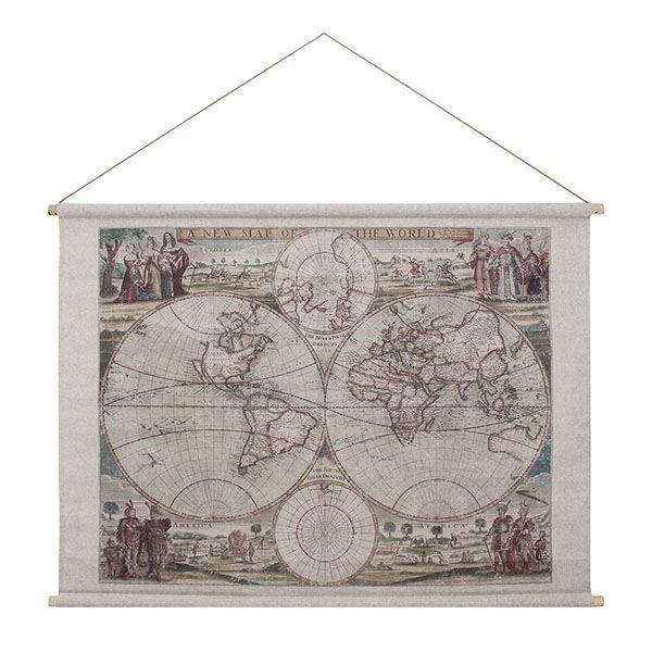 Picture of Map of the World Hanging Linen Tapestry