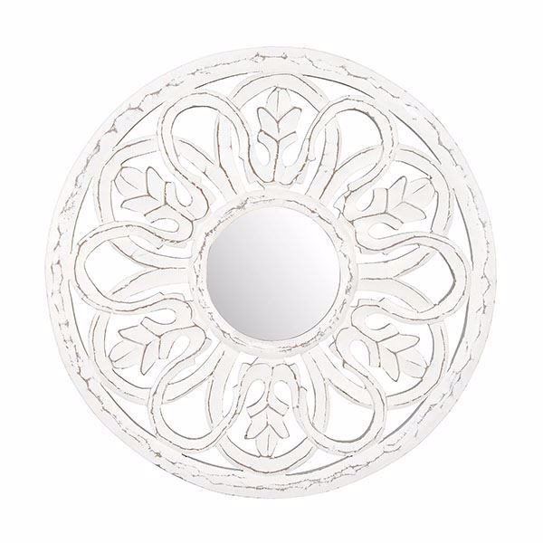 Picture of Dunfey White Carved Mirror