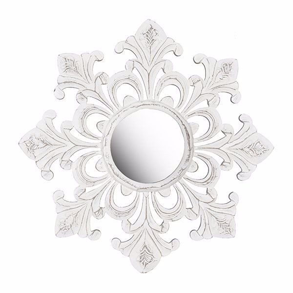 Picture of Tesoro White Carved Mirror