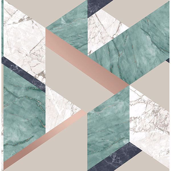 Picture of Elvira Green Marble Geometric Wallpaper