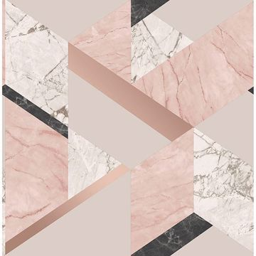 Picture of Elvira Pink Marble Geometric Wallpaper