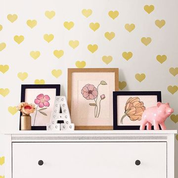 Picture of Metallic Gold Hearts Wall Art Kit