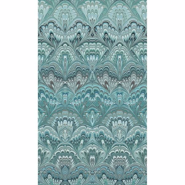 Picture of Taichung Teal Ogee Wallpaper
