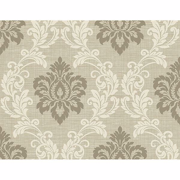 Picture of Adela Neutral Twill Damask Wallpaper