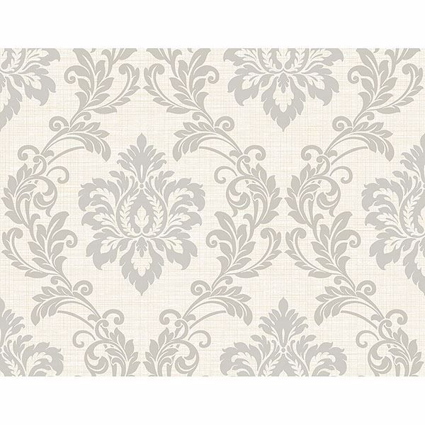 Picture of Adela Ivory Twill Damask Wallpaper