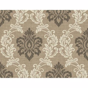 Picture of Adela Light Brown Twill Damask Wallpaper