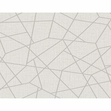 Picture of Heath Silver Geometric Linen Wallpaper
