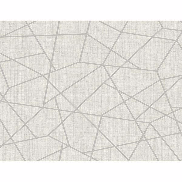 Picture of Heath Silver Geometric Linen Wallpaper
