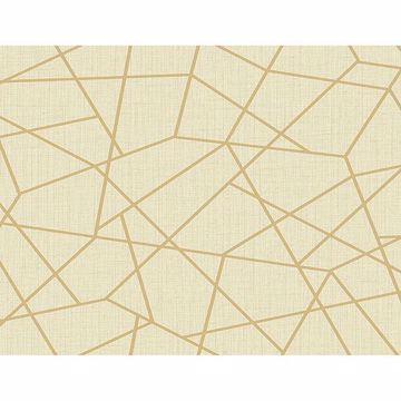 Picture of Heath Gold Geometric Linen Wallpaper