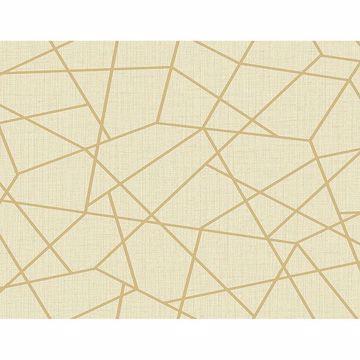 Picture of Heath Gold Geometric Linen Wallpaper