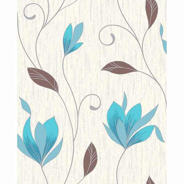 Picture of Synergy Teal Floral Trails Wallpaper
