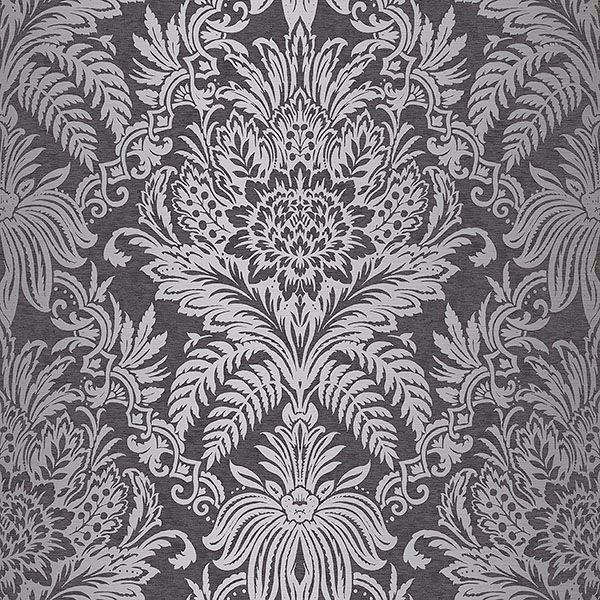 M1065 Signature Charcoal Damask Wallpaper By Crown