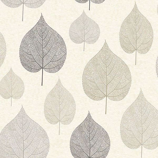 Picture of Quest Charcoal Leaf Wallpaper