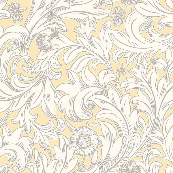Picture of Ahu Light Yellow Scroll Wallpaper