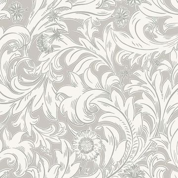 Picture of Ahu Grey Scroll Wallpaper