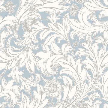 Picture of Ahu Light Blue Scroll Wallpaper
