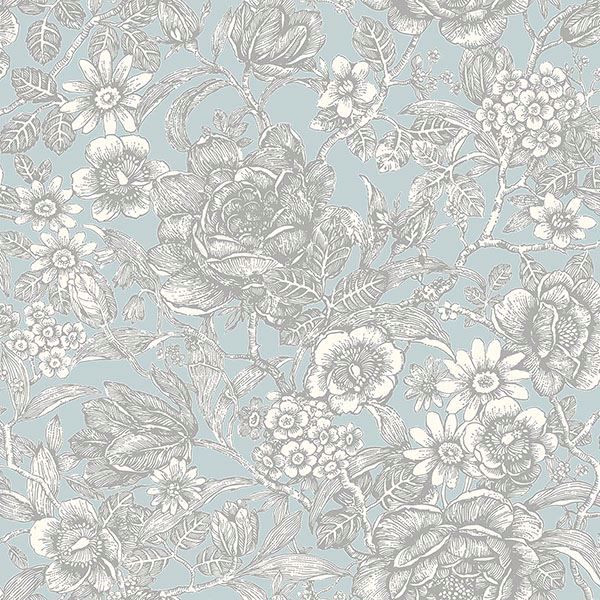 Picture of Hedgerow Light Blue Floral Trails Wallpaper