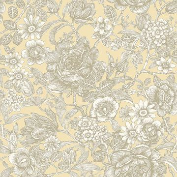 Picture of Hedgerow Light Yellow Floral Trails Wallpaper