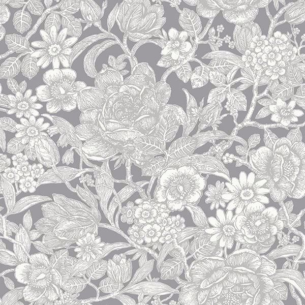 Picture of Hedgerow Grey Floral Trails Wallpaper