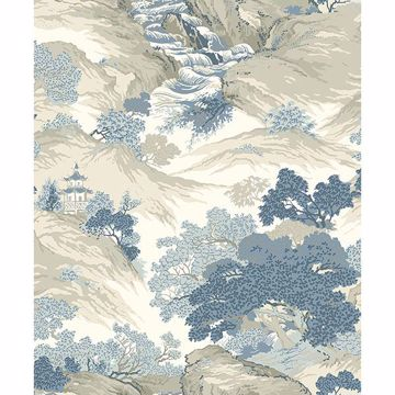 Picture of Ordos Blue Eastern Toile Wallpaper