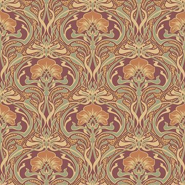 Picture of Donovan Burnt Sienna Nouveau Floral Wallpaper