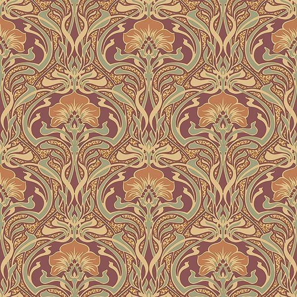 Picture of Donovan Burnt Sienna Nouveau Floral Wallpaper