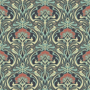 Picture of Donovan Moss Nouveau Floral Wallpaper