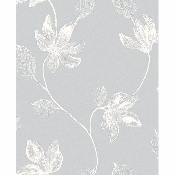 Picture of Florence Light Grey Floral Leaf Trail Wallpaper
