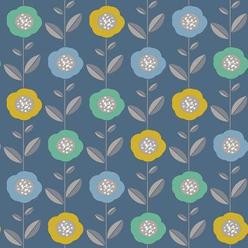 Picture of Helsinki Blue Flowers Wallpaper