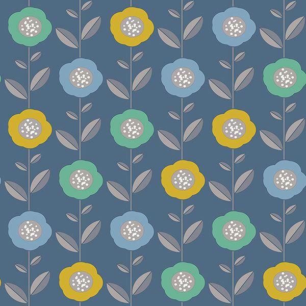 Picture of Helsinki Blue Flowers Wallpaper