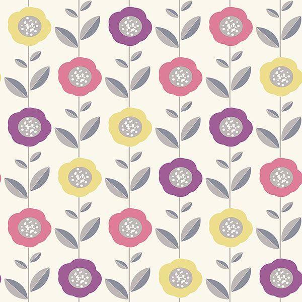 Picture of Helsinki Multicolor Flowers Wallpaper