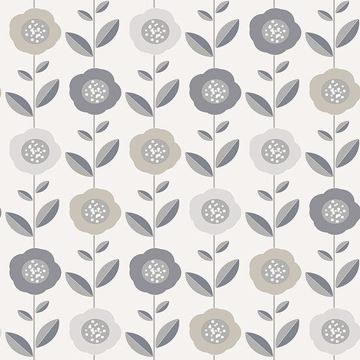 Picture of Helsinki Silver Flowers Wallpaper