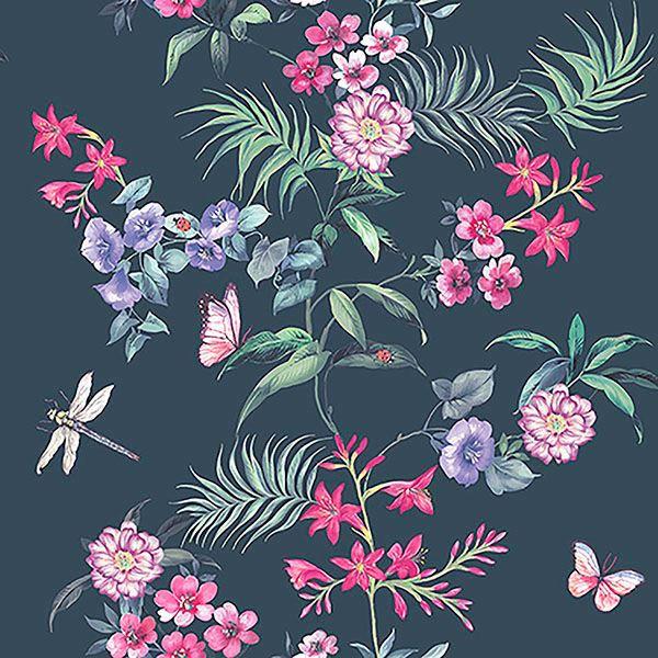Picture of Carmen Black Floral Wallpaper
